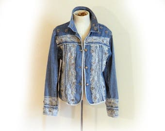 Tons O Lace Vintage Jacket, Denim with Embellishments Charms Beads Ric Rack, Classic Feminine Look Unique 90s Levi Short Jacket Casual Chic