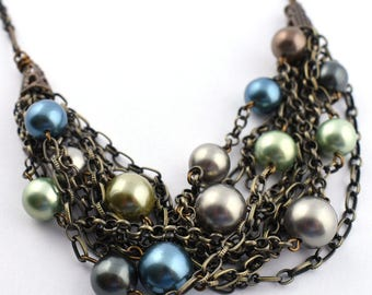 Multi blue green crystal pearls on brass chains necklace or bracelet