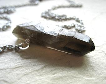 Smoky Quartz Crystal Necklace,  Artisan Quartz Gemstone Statement Pendant Chain Necklace Jewelry, Gemstone Jewelry, Crystal Point Necklace