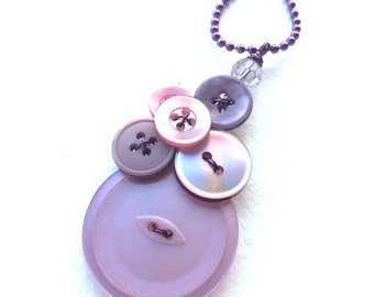 Lavender Button Pendant Necklace