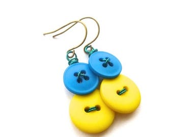Mothers Day Sale Yellow and Blue and Vintage Button Earrings