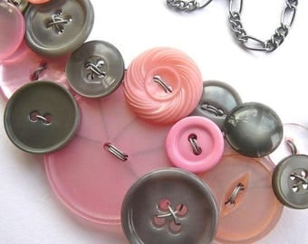 Summer Sale Big Light Pink and Gray Vintage Button Bib Necklace