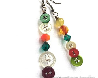 Colorful Mismatch Vintage Button Earrings - Long Dangle