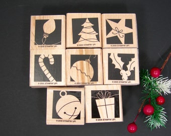 Christmas Rubber Stamps, Set of 8 Mounted on Wood, Stampin' Up, Christmas Tree, Star, Candy Cane, Bell, Ornament, Holly, Bell, Craft Supply