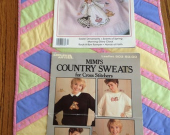 2 Leisure Arts Magazines Easter Ornaments Cross Stitch Instructions
