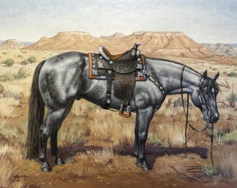 Blue Roan horses original equine art oil 12x16 painting by Kerry Nelson
