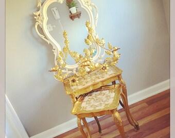 The Glamorous Life... Vintage  Pair of Italian Florentine Gold Gilded Nesting Tables Holywood Regency Glam Golden Era Mid Century Modern