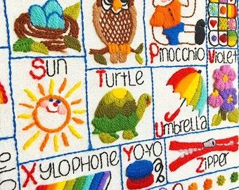 Now I know My ABC's ... Vintage Alphabet ABC's Crewel Crewelwork Yarn Art Embroidery Handmade Nursery Decor Artwork