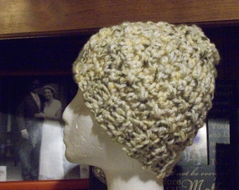 Messy Bun,Hat,Women,Teens,Gift,Accessories,Crocheted,Variegated,Creams,Beige,Brown,Ponytail