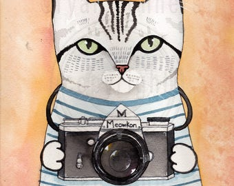 Photographer Kitty Original Silver Tabby Cat Folk Art Watercolor Painting