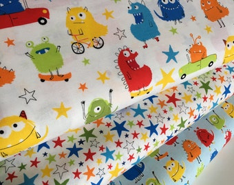 Moster fabric, Novelty fabric, Childrens fabric, Primary Decor, Star fabric, Boy Quilting fabric, - Fabric Bundle of 3, Choose The Cuts