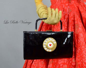 Garay Telephone Purse ~ Vintage 1950s Novelty Black Patent Clutch