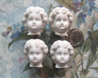 Small German Frozen Charlotte Doll Head Part Lot Antique Bisque China Diy Jewelry Relic Art Assemblage Supplies