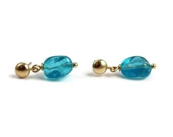 Neon Apatite Earrings - 14k Gold - Apatite Earrings - Tropical Waters