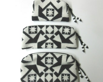 Gift Set of 3 Wool Zippered Pouches Purse Organizers Travel Bags Native American Print Blanket Wool