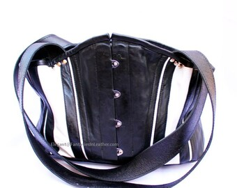 Black & White Leather Corset Tote Bag  (MIS 126)