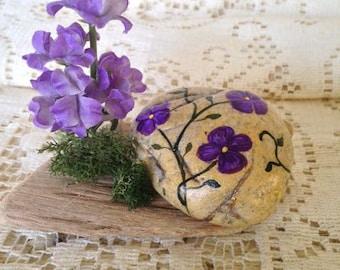 Purple Violet Hand Painted Flowers Bud Vase set on a Driftwood Base