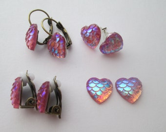 Iridescent Pink Heart Mermaid Scale Pierced Lever Back or No Pierce Magnetic Clip On Earrings