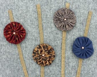 Wool Applique Folk Art Basket of Flowers with Yo Yo with Pearls - Handmade Home Decor