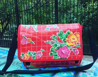 Red Rose Oil Cloth and Canvas Courier Messenger Bag, Crossbody Red Vinyl Floral Vegan Book Bag