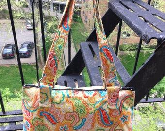 Yellow Orange Paisley Cotton Handbag,  Shoulder Bag, Love Shine Baguette Purse