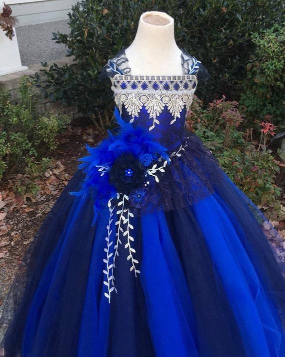 Royal Dress Flower Girl  Dress Navy Dress Lace Dress Wedding Dress Toddler Tutu Dress  Girls Dress Party Dress Portrait Dress Pageant Dress