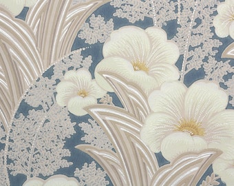 1940s Vintage Wallpaper by the Yard - Tropical Floral Blue Background, Botanical Wallpaper