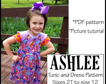 Child size Girls Ashlee Clothes Sewing Pattern  Knit Dress Pattern Aline dress Downloadable PDF pattern Downloadable PDF tutorial