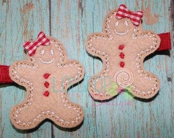 Gingerbread Girl Felt Hair Clip, Felt Hair Clip, Girls Hair Clip, Toddler Hair Clip, Christmas Hair Clip, Feltie Hair Clip