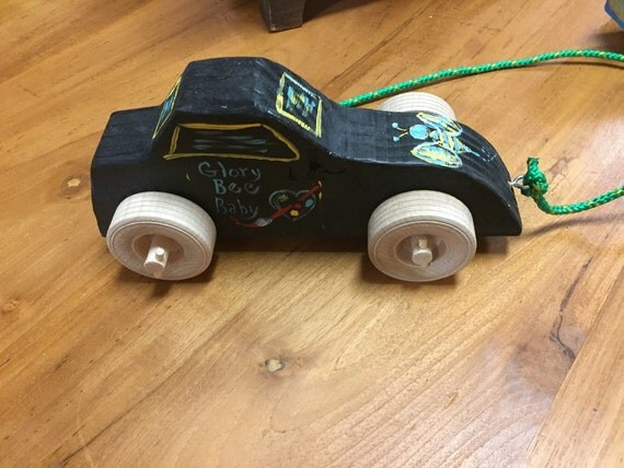 Glory Bee Baby Black Wooden Car by Stan Altman