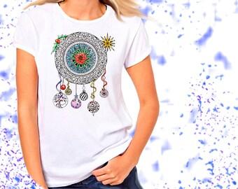 Ladies T-shirt Christmas Mandala Holiday Festive Dreamcatcher Art Sizes XS-2X