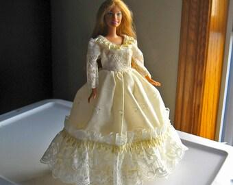 Barbie Dress Ivory Eyelet and Lace