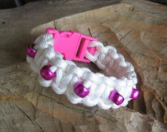 ON SALE White Paracord Bracelet with Purple Beads
