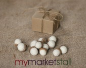 Felted Acorns/One Dozen/Arctic White/Gift Boxed/Ready to Ship