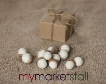 Felted Acorns/One Dozen/ Hygee Decor /Arctic White/Gift Boxed/Ready to Ship