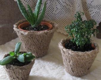 PDF Pattern - Knitted Jute Planter/Three Sizes/Garden/Spring