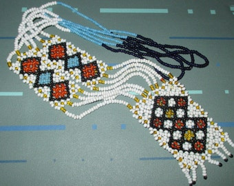 Vintage FAB Woven White Orange and Blue Seed Bead Necklace