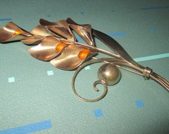 Vintage MOD Sterling Truart Calla Lily Gold Filled PIn Brooch