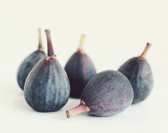 "Fig still life print, food photograph, minimal modern kitchen wall art, purple blue white dining room decor 11x14 ""Five Figs"""
