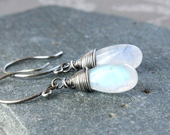 White Moonstone  Earrings Oxidized Sterling Silver  June Birthstone  Earrings Gemstone Jewelry  Birthday Gift For Mom Handmade Accessories