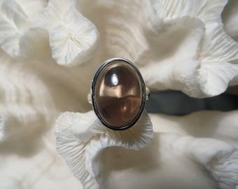 Clear Smoky Quartz Ring Size 8