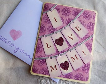 Handmade Mother's Day Card: hearts, tags, pink, purple, greeting cards, cards, mom, complete card, handmade, balsampondsdesign