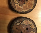 Spalted wood sliced branch buttons from the farm handmade