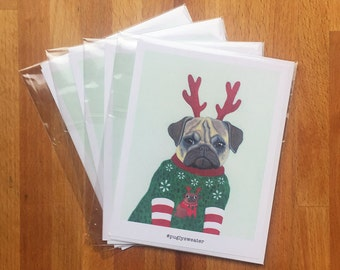 Pugly Sweater - 4x5 Notecard Set (Quantity of 5)