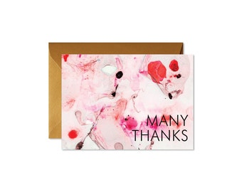 MANY THANKS Peach + Salmon Art Marble Notecards + Envelopes Pack   Boxed Set (8)   Abstract   Modern