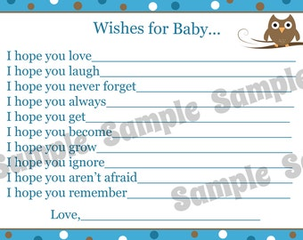 24 Wishes for Baby Cards - Personalized Baby Shower Cards - Blue Owl Baby Shower