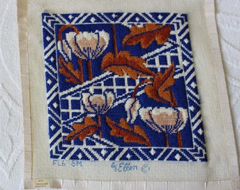 Vintage Floral & Leaves Completed Needlepoint Embroidery Canvas