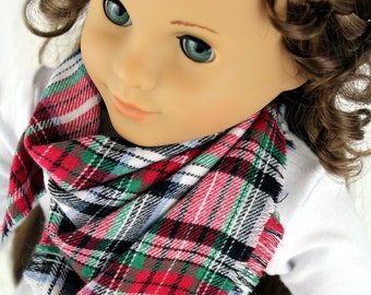 Fits like American Girl Doll Clothes - Doll Accessories - Christmas Plaid Blanket Scarf