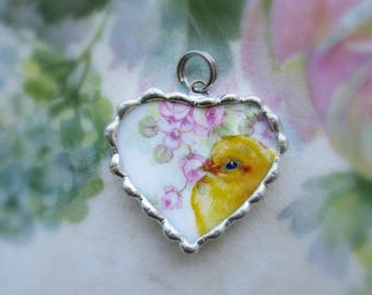 Vintage Recycled Broken China Sweet Yellow Chick in the Roses ~ Chicken ~ Bracelet Heart Charm or Pendant