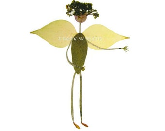 Angel - Garden-inspired notecard for Christmas, Easter, Sympathy, Religious - Pressed flower art - Blank card for gardener, nature lover